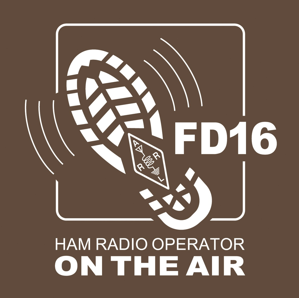 "ARRL Field Day 2016 logo showing a boot tread with the ARRL logo enbedded next to ""FD16""."
