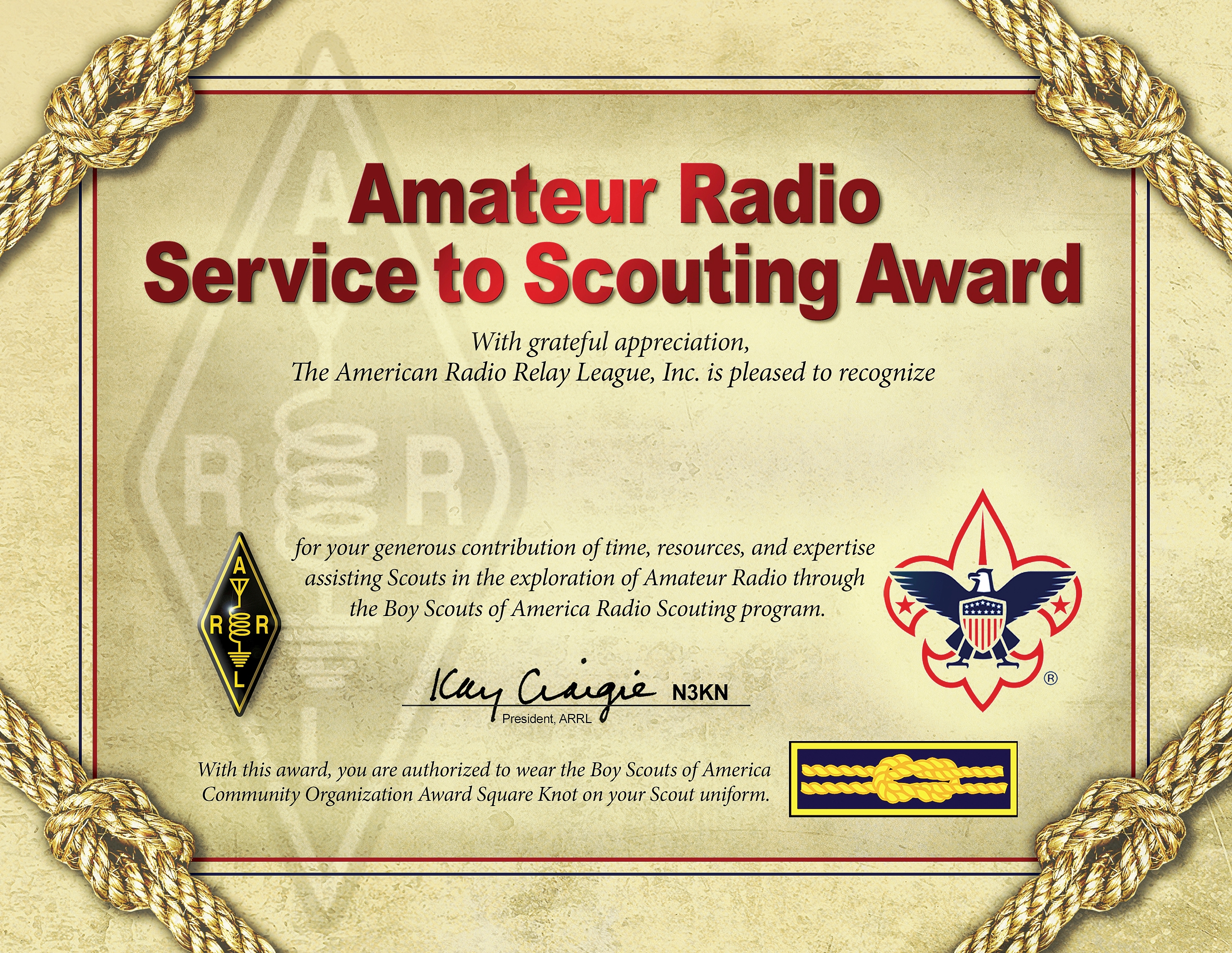 Arrl Recognizing Amateur Radio Service To Scouting Award Winners