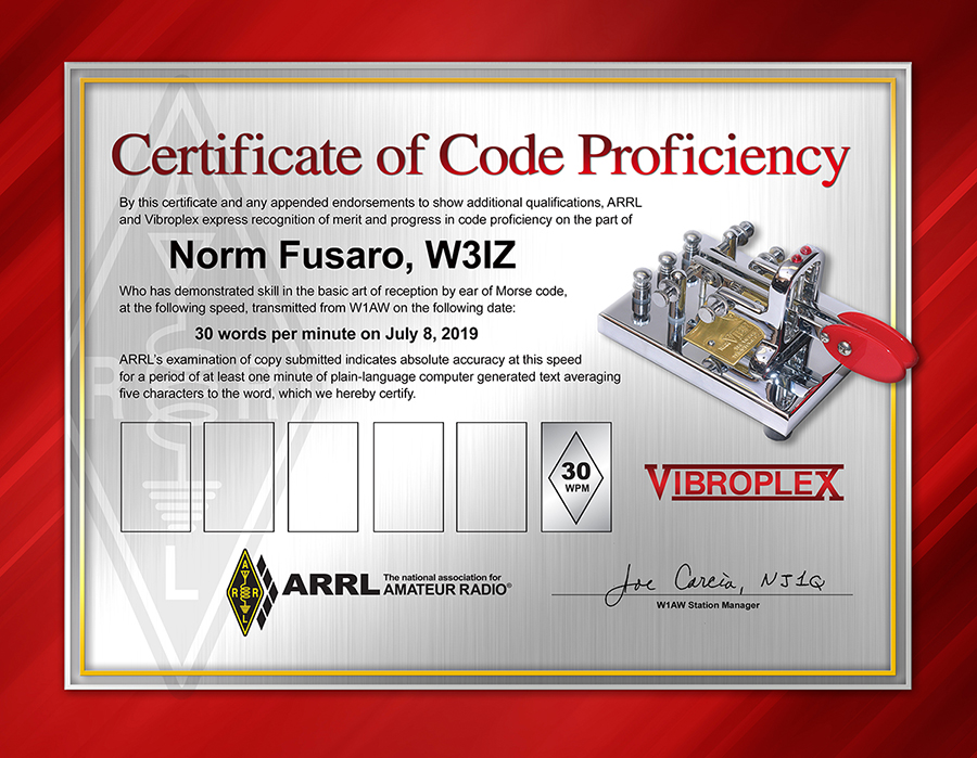 Image result for new arrl code proficiency certificate
