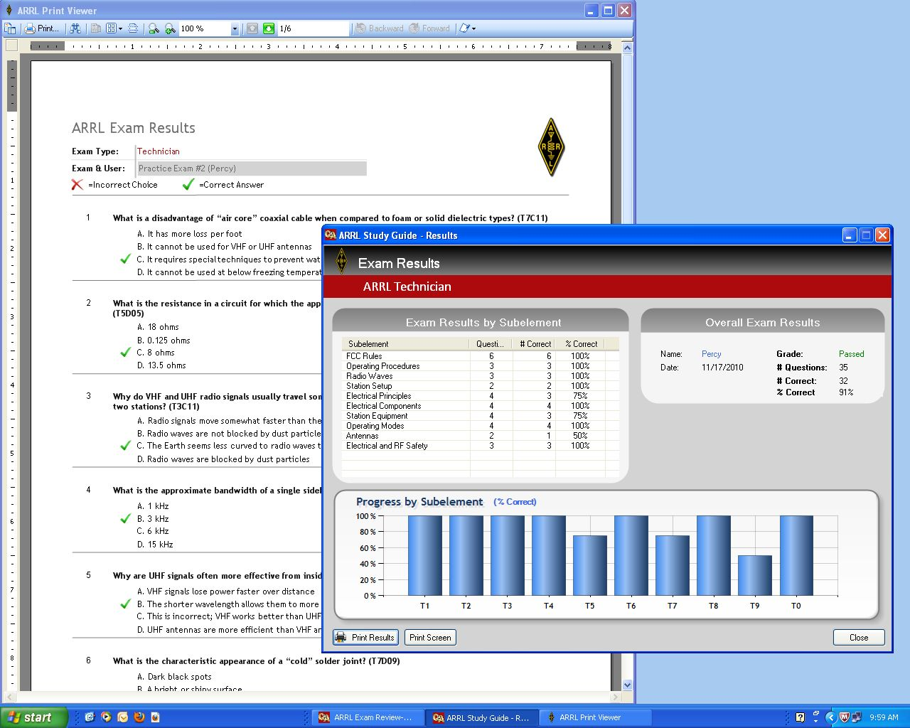 Arrl introduces exam review software for ham radio licensing a screenshot from the arrl exam review displaying a completed practice examination and scorecard xflitez Image collections