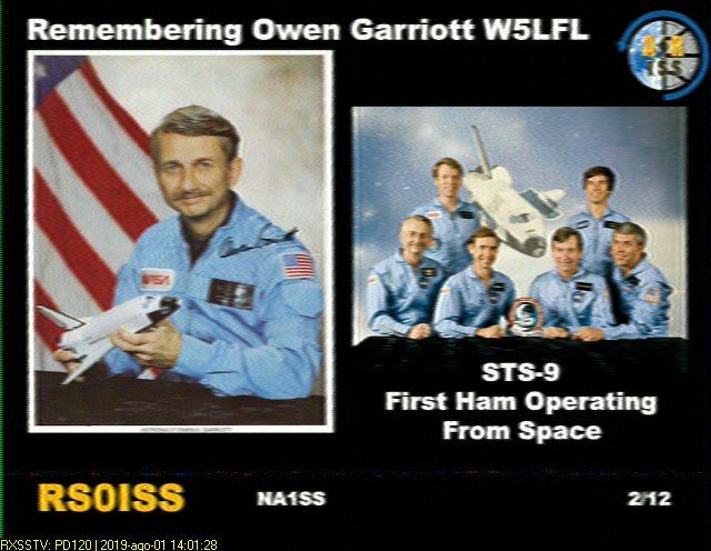 ARISS Owen Garriott Commemorative SSTV Event Under Way