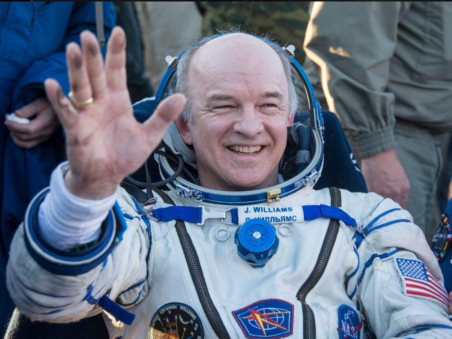 Astronaut Jeff Williams, KD5TVQ, waves upon his return to Earth. [NASA photo