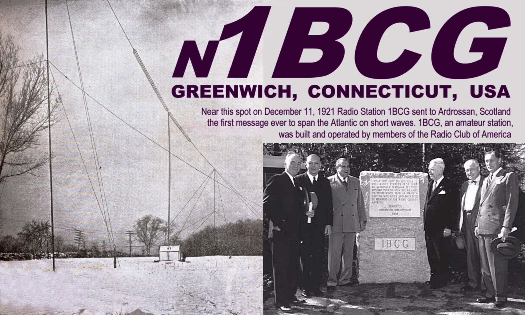 The special event will use N1BCG, the call sign of Clark Burgard of  Greenwich,