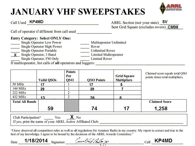 2014 ARRL January VHF Contest