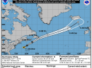 The projected trajectory of Hurricane Chris as of 1400 UTC on July 11. [NHC graphic]