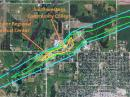 Close up of the tornado path through northwest Creston on April 14. The light blue contour denotes EF0 damage, green denotes EF1 damage and yellow represents EF2 damage. This tornado formed about one and a half miles east of Cromwell at 6:55pm and quickly tracked into northwest Creston around 7 PM. EF2 damage occurred to the Greater Regional Medical Center and the Southwestern Community College campus. Surrounding apartments and homes also sustained severe damage and many cars were flipped or destroyed. The tornado continued tracking to the northeast and damaged several farmsteads northeast of Creston before dissipating about 10 miles northeast of town at approximately 7:15 PM. [Photo courtesy of the National Weather Service in Des Moines, Iowa]