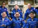 (Front) Scott Tingle, KG5NZA; Alexander Misurkin, and Norishige Kani; (Rear) Anton Shkaplerov, Joe Acaba, KE5DAR, and Mark Vande Hei, KG5GNP. [NASA video]