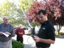 TI Instructor Tommy Gober, N5DUX, demonstrates Amateur Radio satellite communication at a workshop in California.