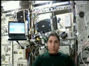 A live image of astronaut Mike Hopkins, KF5LJG, on the ISS, as streamed onto the web from one of the Ham TV ground stations. [Image courtesy of Frank Bauer, KA3HDO]