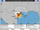 Predicted track of Hurricane Harvey, as of 0100 UTC on August 26. [NOAA graphic]