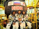 New ISS crew members (L-R) Joe Acaba, KE5DAR; Alexander Misurkin, and Mark Vande Hei, KG5GNP. [NASA photo]