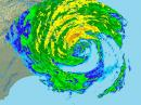 A radar image of Hurricane Irene, shortly after making landfall on the Outer Banks of North Carolina at 10:05 AM EDT on August 28. [Image courtesy of the National Weather Service radar station at Newport/Morehead, North Carolina]
