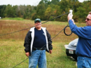 Assistant Ashtabula (OH) Emergency Coordinator Don Kocina, KD8OSZ (left), and Assistant District 10 Emergency Coordinator Tim Price, K8WFL, assemble an antenna in the field. [ Bob Woodworth, WD8PVB, photo]