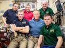 Seated in front, L-R: ESA (European Space Agency) astronaut Timothy Peake, KG5BVI; NASA astronaut Timothy Kopra, KE5UDN, and Roscosmos cosmonaut Yuri Malenchenko, RK3DUP, are set to depart the International Space Station and return to Earth on June 18. Behind them are (L-R) Oleg Skripochka, RN3FU, Alexey Ovchinin, both of Roscosmos, and Jeff Williams, KD5TVQ. [NASA photo]