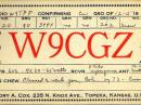 A W9CGZ QSL card from December 15, 1940.
