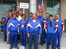 USAs delegation to the 2008 ARDF World Championships. Heads left to right are Bob Cooley, KF6VSE (M60); Ken Harker, WM5R (Juror); Jen Harker, W5JEN (W21); Dale Hunt, WB6BYU (Captain); Harley Leach, KI7XF (M60); Nadia Scharlau (W35); George Neal, KF6YKN (M50); Scott Moore, KF6IKO (M40); Vadim Afonkin (M40); Jay Thompson, W6JAY (M21); Charles Scharlau, NZ0I (M40), and Jay Hennigan, WB6RDV (M50). Not pictured is Richard Thompson, WA6NOL. [Photo courtesy Vadim Afonkin]
