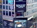 ARRL Field Day was prominently featured in New York City's Times Square many times over a three day period earlier this month. [Photo courtesy of <em>PRNewswire</em>]