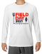 White long-sleeve t-shirt featuring the 2021 Field Day logo, a must-have for your winter wardrobe!