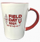 12 oz. ceramic mug has a glossy white exterior enhanced by a red interior and red handle,