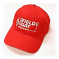 Low profile structured red baseball hat with white embroidery.