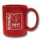 Red ceramic mug (11 oz), featuring the 2017 Field Day logo.<P>