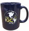 Navy ceramic mug (11 oz), featuring the ARRL IGC logo.<P>
