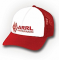 Red and white hat embroidered with red ARRL logo on the front. Cotton top. Mesh back. One size fits most,