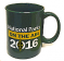 Forest green ceramic mug (11 oz.), featuring the ARRL National Parks on the Air logo.