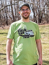 kiwi t-shirt features a retro-inspired logo on the front and a fun way to keep track of your contacts on back.